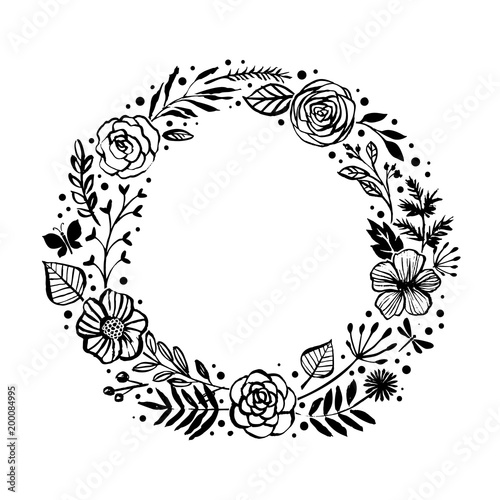 Floral Rustic Branches Flowers And Leaves Wreath For Wedding Invitation Template Design Botanical Hand