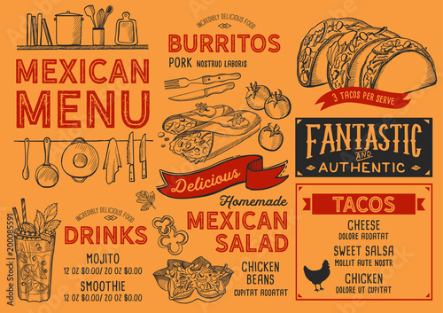 mexican restaurant menu vector food flyer for bar and cafe design