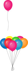 Set of balloons with one flying away