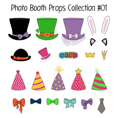 Set of hand drawn cartoon photo booth props with top hats, party hats, cat and bunny ears, crowns, flower chain, bow ties. Isolated objects on white background. Vector illustration. Design elements.