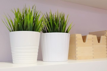 Green Artificial Plants with Wooden Storage