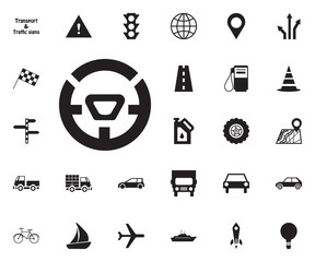 Car rudder icon. Transport vector icon set.