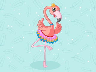 Tanzender Comic Flamingo