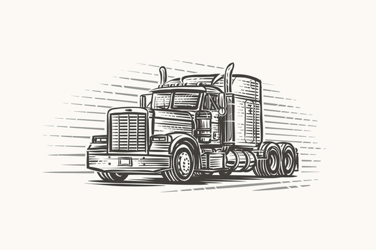 American Truck with no trailer illustration. Vector.