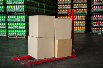 Cardboard boxes on trolley