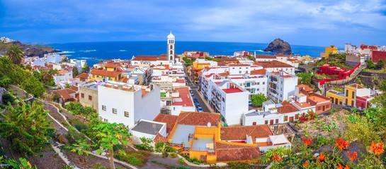 Panoramic aerial view of Garachico cityscape, Tenerife island, Spain