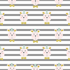Seamless kid pattern with cute bears.