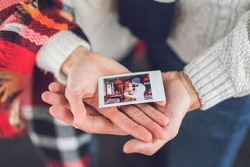 Young couple with a photo