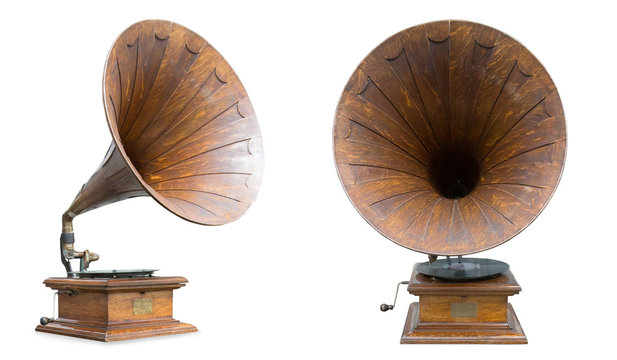 retro old gramophone isolated on white
