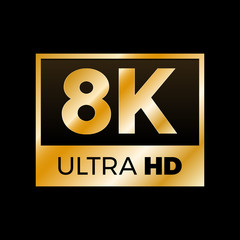 8K Ultra HD symbol, High definition 8K resolution mark, UHD - 4320p