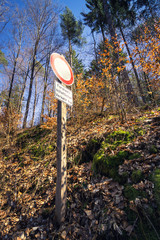 Low angle view to a road sign in the forest