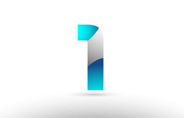 grey blue number 1 logo 3d design