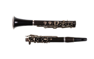 black clarinet on white background