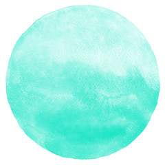 Mint green gradient watercolor circle isolated on white. Abstract round shape background. Watercolour stains aquarelle texture.