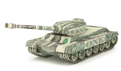 Dollar Tank. Money origami. Tank made from American One dollar bill. War relation concept. 3D illustration