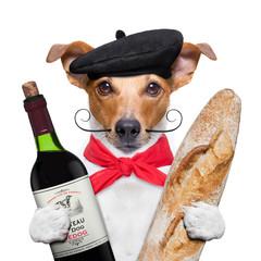 Wall Mural - dog  wine baguette beret