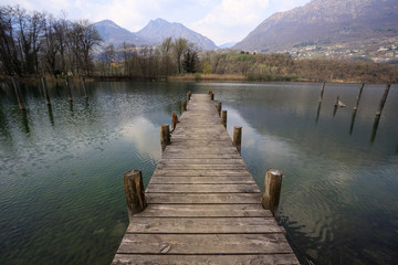 Photo sur Aluminium Ponts lago di Piano - Porlezza