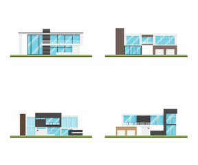 Set of four houses and modern houses design, Modern building and architecture