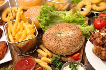 selection of junk food, american food