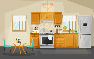 Kitchen interior view. Fridge and oven, utensil