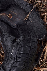 Discarded ruptured tire.