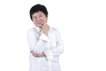 Smiling Asian Middle-aged woman in white shirt  isolated on white background