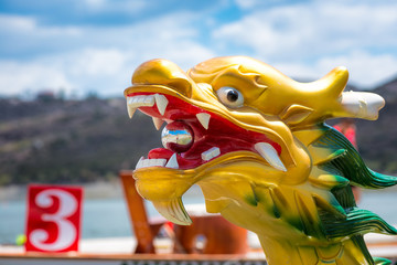 Carved and painted dragon head of a Dragonboat