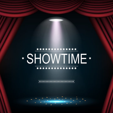 Showtime background with curtain illuminated by spotlights