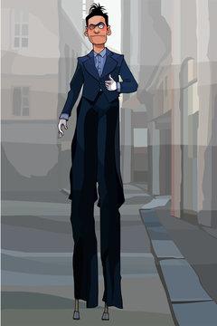cartoon male clown in black suit on stilts walking around town