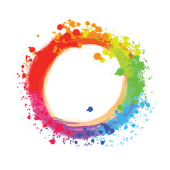 Bright background circle with colorful drops