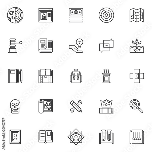 Knowledge Outline Icons Set Linear Style Symbols Collection Line