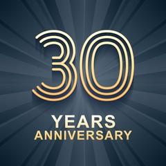 30 years anniversary celebration vector icon, logo