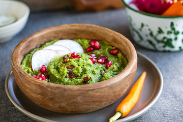 Spinach Hummus with Pomegranate and Herb Olive oil