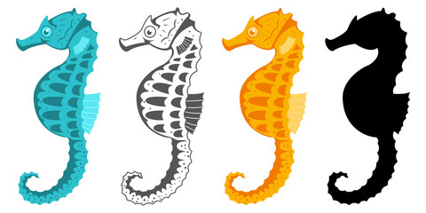 Seahorse collection. Hippocampus vector cartoon icon set of underwater fish and silhouette isolated on white background.