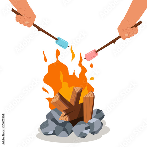 Campfire And Grill Marshmallow On The Stick In Hands Vector Cartoon Bonfire Icon Isolated