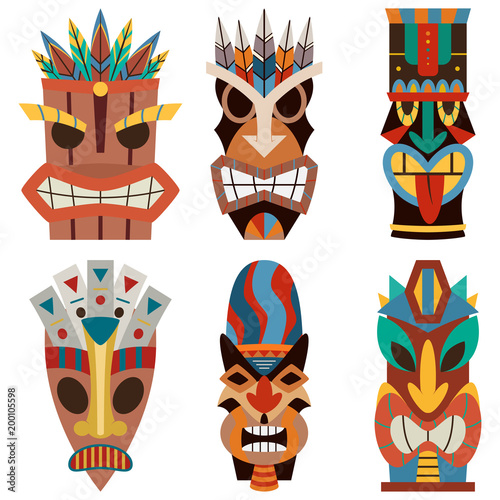 tiki mask vector set of cut wooden hawaiian and polynesian guise