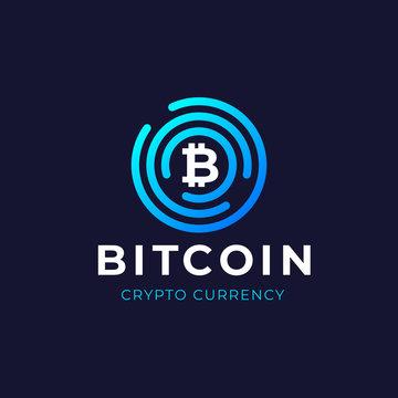 Bitcoin logo concept. Cryptocurrency sigh. Digital money. Blockchain, finance symbol. Vector illustration.