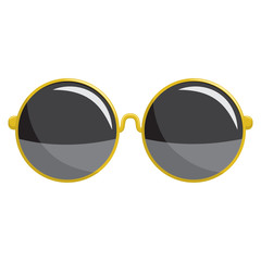 Fashion sunglasses in a gold plastic frame round oversize shape. Vector cartoon icon isolated on a white background.