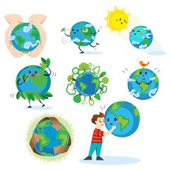 Earth day, happy boy hugging planet, ecology concept of love the world, green and blue globe protection, global eco save nature vector illustration isolated on white background