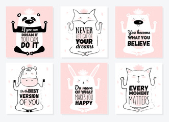 Set of Vector cartoon sketch meditative animals illustration with motivation lettering phrase