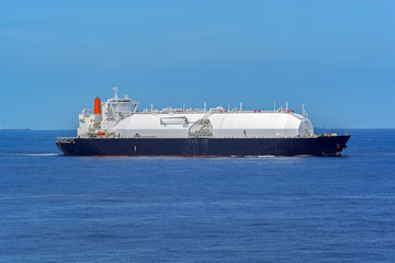 Gas carrier vessel passing by Singapore Strait.