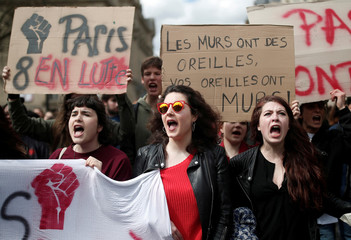 Students protest against Macron's university reform in front of the Sorbonne university in Paris