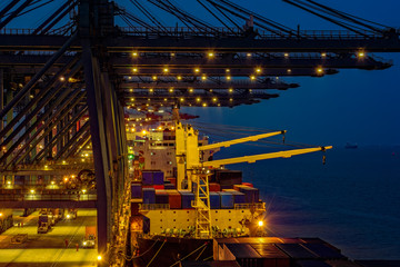 Night view of a container terminal.