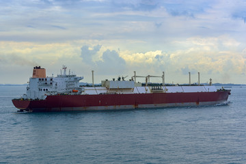 Gas carrier vessel approaching to port.
