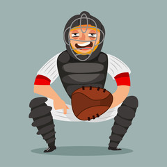 Catcher baseball player. Cartoon character of a man in mask, glove, helmet and sportswear. Vector illustration isolated on white background.