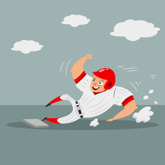 Baseball runner player sliding home base. Cartoon character of a man in helmet and sportswear. Vector illustration isolated on white background.