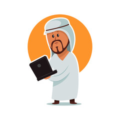 Arab man businessman. Vector cartoon character male with laptop in traditional clothes. Illustration for business isolated on white background.