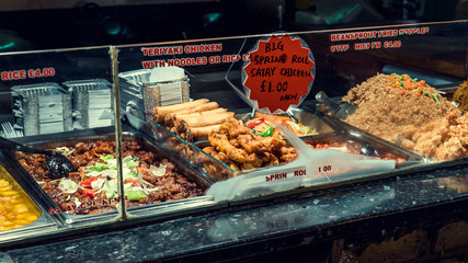 Japanese and chinese food stand in Camden Town, London