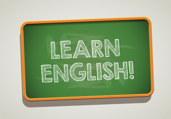 LEARN ENGLISH written in chalkboard. Conceptual image with word LEARN ENGLISH. Photo stock.