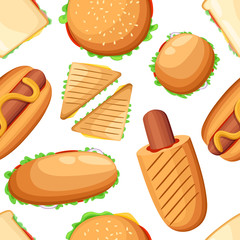 Seamless pattern of various sandwiches, hot dogs and burgers. Cartoon style design. Vector illustration on white background. Web site page and mobile app design